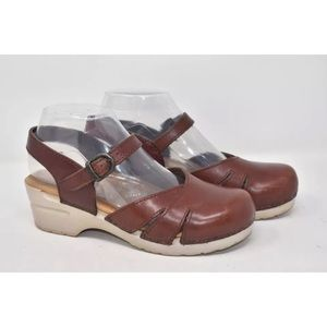 Dansko Brown Leather Mary Jane Clogs Sz 7.5M